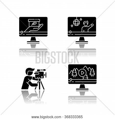Filmmaking And Videography Drop Shadow Black Glyph Icons Set. Concert Streaming. Nature Documentary
