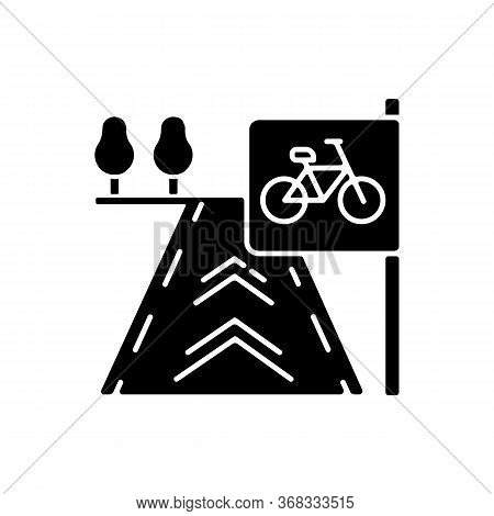 Bicycle Lane Black Glyph Icon. Path To Exercise On Bike. Pedestrian Street. Road For Fitness Activit