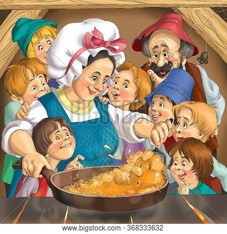 Vintage Illustration Of A Peasant Family. Mom Bakes A Tortilla In A Pan. The Children Surrounded Her