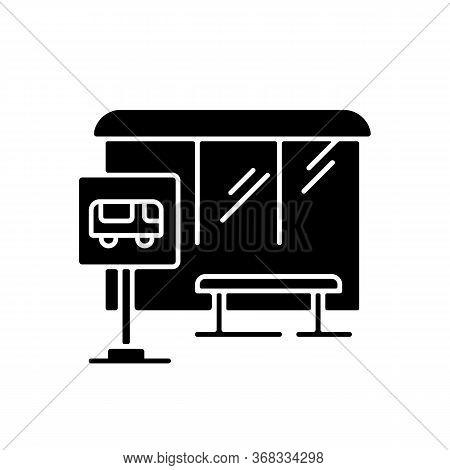 Bus Stop Black Glyph Icon. Wait For Public Transport. Urban Commuter Transit. City Infrastructure. R