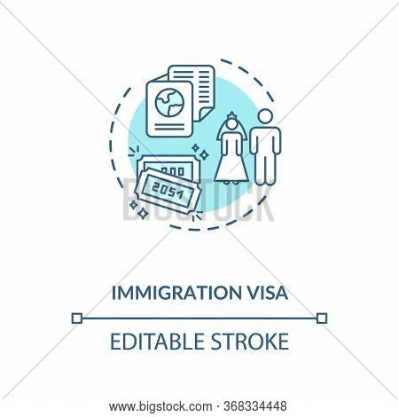 Immigration Visa Concept Icon. Foreign Country Legal Migration. Married Couple Residential Document