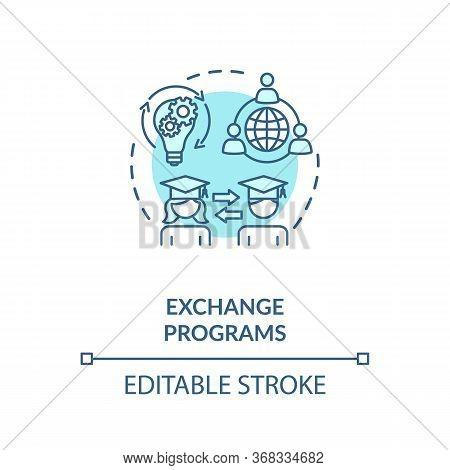 Exchange Programs Concept Icon. International Education. School And University Students Exchange Ide