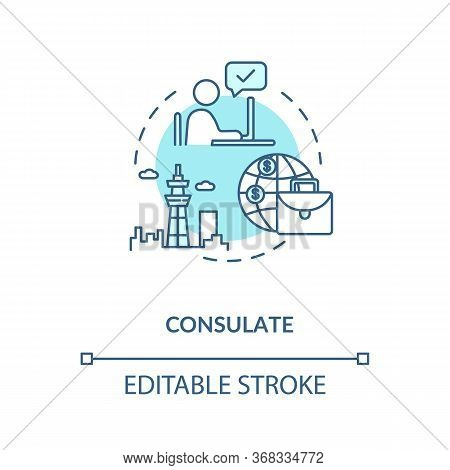 Consulate Concept Icon. Diplomatic Mission. International Organisation Idea Thin Line Illustration.