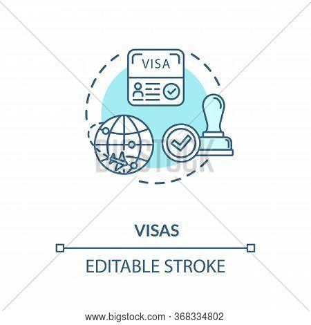 Visa Concept Icon. Abroad Trip. Foreign Country Document Application. Legal Immigration Approvement