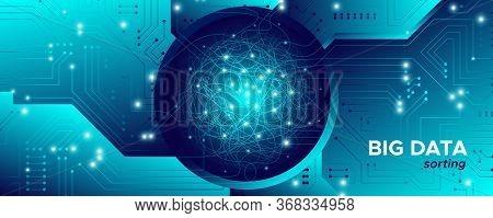 Big Data Fractal. Technology Network. Information Stream. Motherboard Vector. Artificial Intelligenc