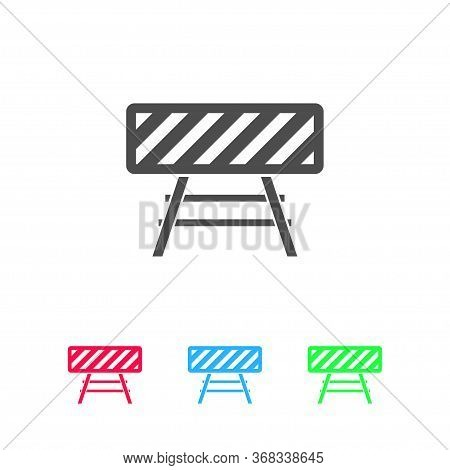 Road Barrier Icon Flat. Color Pictogram On White Background. Vector Illustration Symbol And Bonus Ic