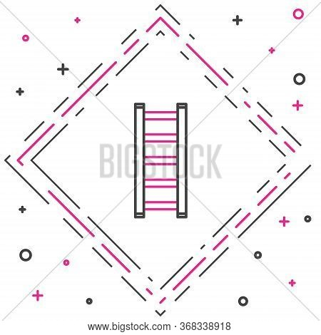 Line Fire Escape Icon Isolated On White Background. Pompier Ladder. Fireman Scaling Ladder With A Po