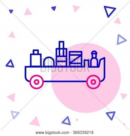 Line Airport Luggage Towing Truck Icon Isolated On White Background. Airport Luggage Delivery Car. C