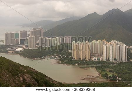 Hong Kong / China - July 23, 2015: Areal View Of New Residential Apartment Buildings In Hong Kong Is