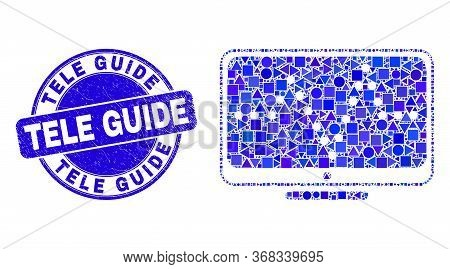 Geometric Online Dotted Chart Mosaic Pictogram And Tele Guide Seal. Blue Vector Round Textured Seal