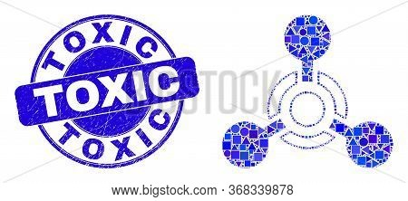 Geometric Toxic Nerve Agent Mosaic Icon And Toxic Seal Stamp. Blue Vector Rounded Textured Seal Stam