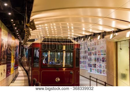 Hong Kong / China - July 25, 2015: The Peak Tram, Running From Garden Road Admiralty To Victoria Pea