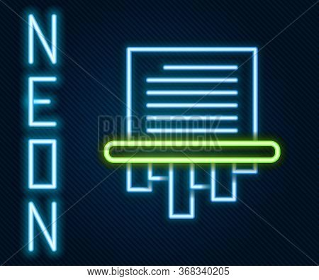 Glowing Neon Line Paper Shredder Confidential And Private Document Office Information Protection Ico