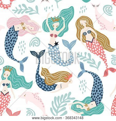Seamless Pattern With Creative Mermaids With Dolphins . Creative Undersea Childish Texture. Great Fo