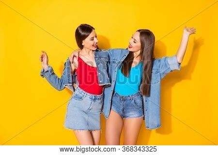 Portrait Of Enthusiastic Lovely Funky Girls Best Fellows Enjoy Together Walk Weekend Feel Rejoice We