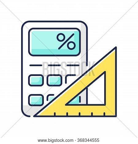 Mathematics Rgb Color Icon. Fundamental Formal Science. School Subject, Scientific Discipline. Algeb