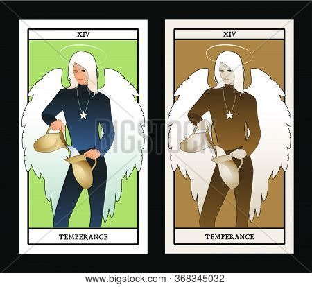 Major Arcana Tarot Cards. Temperance. Angel With Appearance And Clothes Of Young Man, Great Wings, H