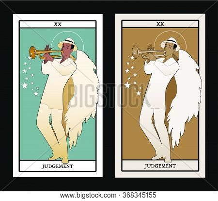 Major Arcana Tarot Cards. Judgement. Archangel With Great Wings, Wearing Hat Playing The Trumpet