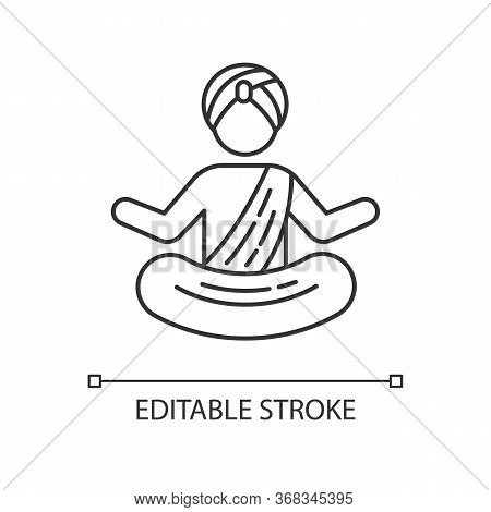 Yogi In Turban Pixel Perfect Linear Icon. Practitioner Of Yoga. Meditating Indian Monk. Thin Line Cu