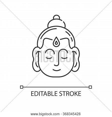 Gautama Buddha Pixel Perfect Linear Icon. Indian Philosopher. Religious Leader Of Ancient India. Thi