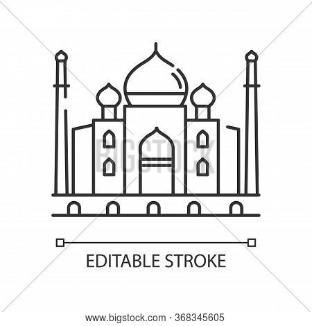 Taj Mahal Pixel Perfect Linear Icon. Marble Mausoleum. Historical Monument. Mughal Architecture. Thi