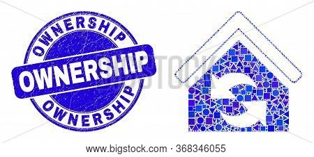 Geometric Refresh House Mosaic Icon And Ownership Seal Stamp. Blue Vector Round Distress Seal With O