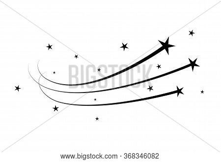 Magic Star Dust Trail, Star Glitter Vector Shoot Of Comet. Flying Meteorite Stardust