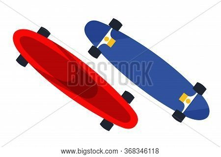 Blue And Red Skateboards Flat Vector Illustration. Longboards Isolated On White Background. Skateboa