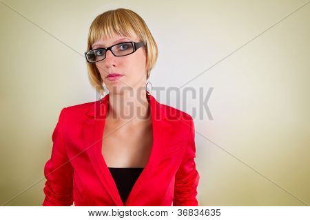 Portrait Of Young Bussines Woman With Glasses