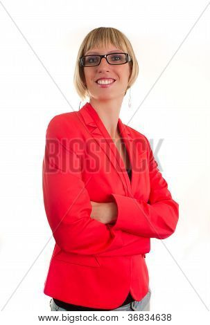 Portrait Of Young Busines Woman With Glasses