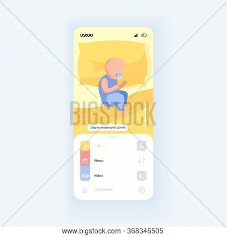 Infant Sleeping In Bed Smartphone Interface Vector Template. Mobile App Page Purple Design Layout. C