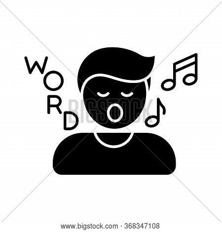 Song Game Black Glyph Icon. Fun Board Game, Musical Entertainment Silhouette Symbol On White Space.