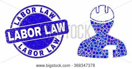 Geometric Repairman Mosaic Pictogram And Labor Law Seal Stamp. Blue Vector Round Textured Seal Stamp
