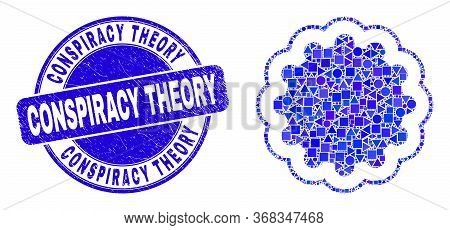 Geometric Inner Gear Mosaic Pictogram And Conspiracy Theory Watermark. Blue Vector Round Scratched W