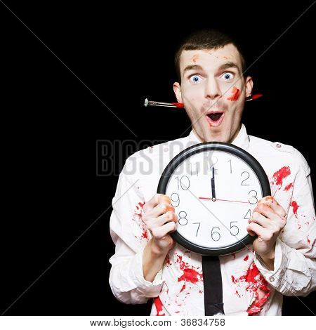Halloween Ghoul Holding Clock Set To Midnight