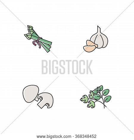 Vegan Salad Ingredient Rgb Color Icons Set. Asparagus Spear. Whole Garlic. Sliced Mushroom. Fresh He