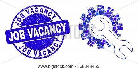 Geometric Setup Tools Mosaic Pictogram And Job Vacancy Seal Stamp. Blue Vector Round Distress Seal S