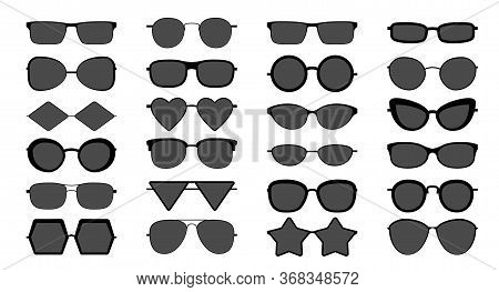 Black Sunglasses Silhouette. Modern Stylish Elegant Shading Sun Glasses With Different Shape, Isolat