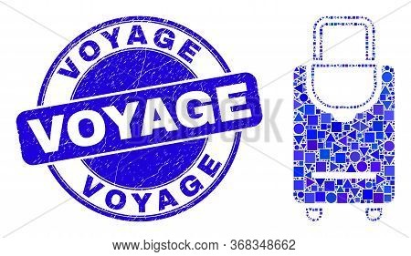 Geometric Voyage Luggage Mosaic Icon And Voyage Seal Stamp. Blue Vector Rounded Distress Seal Stamp