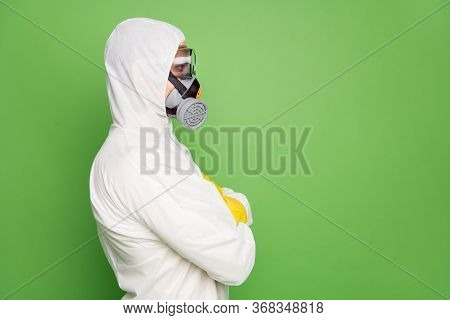 Close-up Profile Side View Portrait Of His He Nice Content Professional Disinfectant Wearing Gas Mas