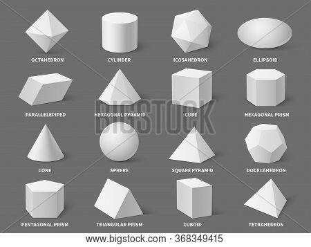 Geometric 3d Shapes. Realistic White Basic Geometry Form Sphere And Pyramid, Hexagonal And Prism, Te