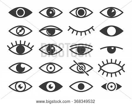 Eye Icon. Medicine Supervision Health Eyes Opened And Closed, Look And Vision, Sleep. Observe And Ey