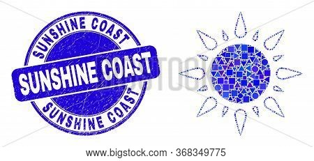 Geometric Sunshine Mosaic Pictogram And Sunshine Coast Seal Stamp. Blue Vector Round Distress Seal S