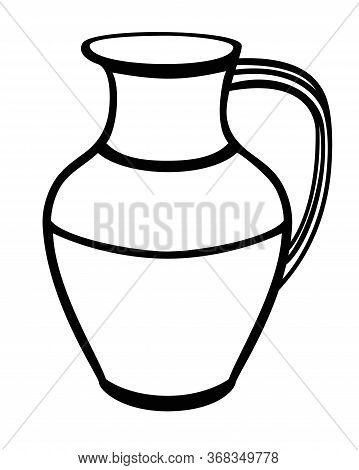 Pitcher Is A Pottery Folk Product. Pitcher - Vector Linear Picture For Coloring. Traditional Dishes.