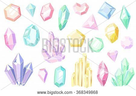 Crystals And Gems. Pink And Purple Gemstones, Beautiful Jewels, Mineral Stone Pastel Crystal Stalagm