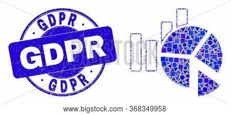 Geometric Statistics Charts Mosaic Pictogram And Gdpr Seal. Blue Vector Round Grunge Seal Stamp With