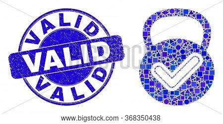 Geometric Valid Weight Mosaic Icon And Valid Seal Stamp. Blue Vector Round Grunge Stamp With Valid M