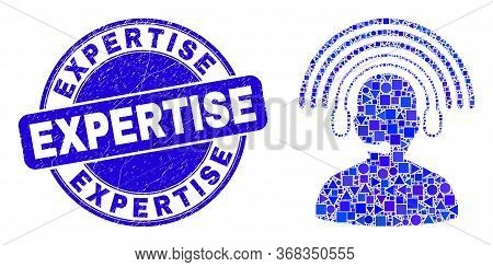 Geometric Radio Operator Mosaic Icon And Expertise Seal. Blue Vector Rounded Scratched Seal Stamp Wi