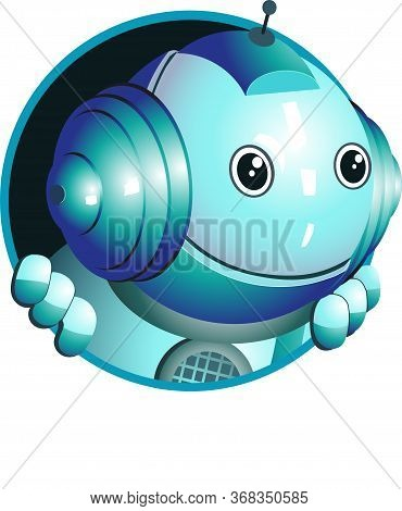 Vector. Funny Illustration Of A Cute Robot That Looks Out Of The Window And Gives Valuable Advice.