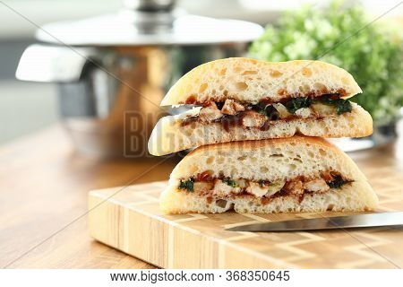 Close-up Of Delicious Sandwiches With Mixed Stuffing. Fast Food And Calories. Unhealthy Eating. Shar